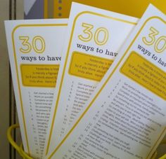 Relief Society idea: 30 Ways to Have a Good Day Handout