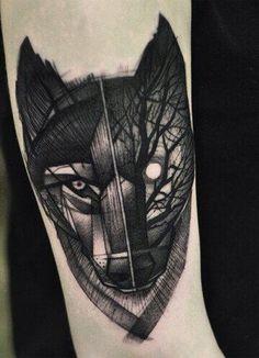 Dark animal leg tat