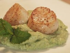 Seared Scallops with Fava Bean Puree : Recipes : Cooking Channel