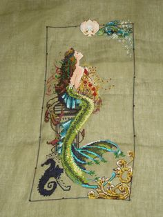 Mermaid embroidery (cross stitch)