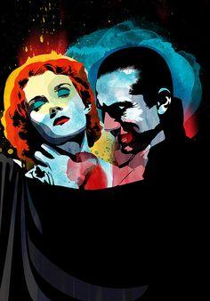 Bela Lugosi Dracula art by Alvaro Tapia Hidalgo. Monster Art, Art Pop, Beetlejuice, Frankenstein, Horror Art, Horror Movies, Illustrations, Illustration Art, Vampire Love