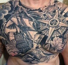 Nautical tattoos - Most marines have nautical themed tattoo, which are usually ships, kraken, sparrow, compas and aquatic creatures #TattooModels #tattoo