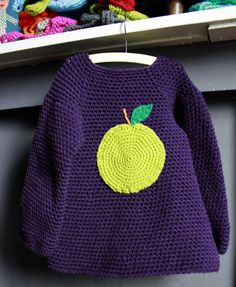 Cute toddler crochet sweater / dress with apple applique