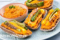 Gezond broodje met pittige hummus en paprika