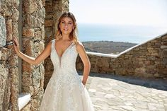 Iris An ultra-feminine design featuring unique appliques and pockets! Formal Dresses For Weddings, Bridal Wedding Dresses, Designer Wedding Dresses, Wedding Dress Boutiques, Wedding Dress Shopping, Fit And Flare, Eddy K, Bridal Stores, Trends