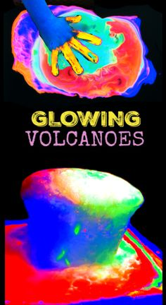 We love to experiment with volcano science.We have made snow volcanoes. We have made beach volcanoes, and we have even made sound volcanoes. Today, we wanted to see if we could make glow-in-the-dark volcanoes, and the results were absolutely amazing! Volcano Projects, Science Projects, Projects For Kids, Diy For Kids, Crafts For Kids, Kids Fun, Volcano For Kids, Making A Volcano, Kids Volcano Experiment