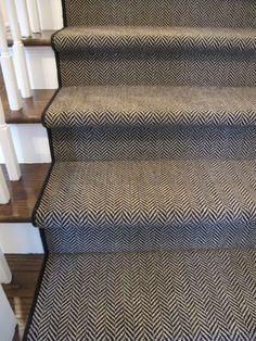 herringbone stair carpet runner with border