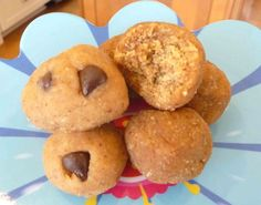 Raw Chocolate Chip Cookie Dough Bites  @ The Nourishing Home (almond butter, raw honey, vanilla, raw cacao, coconut flour,...)