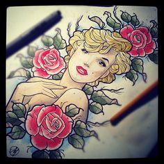 #tattoo #flash #watercolor #roses #flowers #Marilyn #Monroe