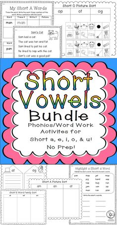 Printable, ready to go centers for all short vowel sounds! $