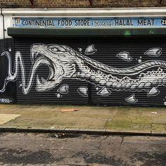 Giant snake in #Shoreditch by @thisoneart #shoreditchstreetart #streetartshoreditch #londonart #londonstreets #londonstreetart #londongraffiti #streetartlondon #streetart #streetartlondon #streetarteverywhere #artnow #artderue #arteurbano #artnowandthen #ukstreetart #streetartuk #rsa_graffiti #tv_streetart #dsb_graff #rsa_graffiti #sztukaulicy #wallpainting #notjustwalls #стритарт by artnowandthen