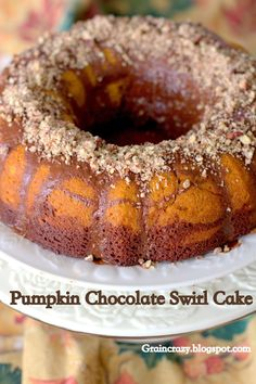 Grain Crazy: Pumpkin Chocolate Swirl Cake (whole grain)