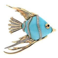 Turquoise Fish Brooch with diamonds   From a unique collection of vintage brooches at https://www.1stdibs.com/jewelry/brooches/brooches/