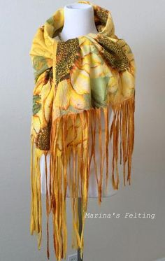 "Nuno felting scarf for all seasons. Scarf ""Sunflower"""