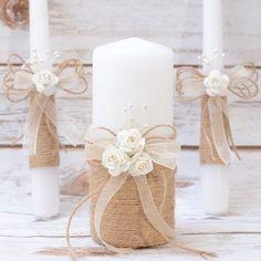 Idee matrimonio candele rustico unità candela Set matrimonio unità candela matrimonio unità rustici candele di nozze con pizzo tela lino Rose