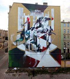 """Gentrification""  Mural by Robert Proch in Łódź, Poland"