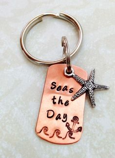 Seas the Day Copper Key Ring with Starfish by SilverBlissShop, $15.00