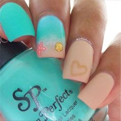 """If you're unfamiliar with nail trends and you hear the words """"coffin nails,"""" what comes to mind? It's not nails with coffins drawn on them. It's long nails with a square tip, and the look has. Ocean Nail Art, Beach Nail Art, Beach Nail Designs, Nail Art Designs, Nails Design, Diy Beach Nails, Acrylic Summer Nails Beach, Beach Design, Spring Nail Art"""