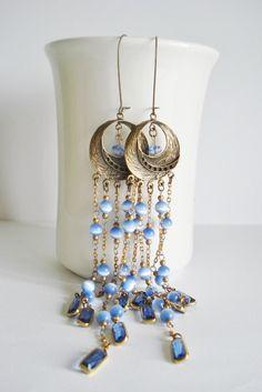 Super long dangle earrings Gypsy earrings bohemian by AJBcreations, $28.00