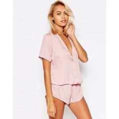 ASOS Miley Satin Piped Pyjama Top & Short Set ($47) ❤ liked on Polyvore featuring intimates, sleepwear, pajamas, pink, pj tops, satin pajamas, short sleepwear, asos and pajama tops