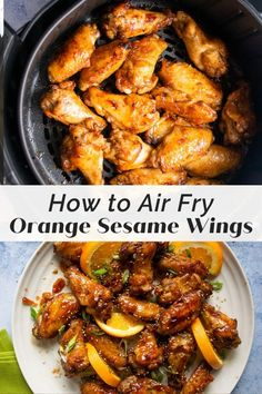 These orange sesame chicken wings might be my favorite wings of all time! Sweet and tangy, tender and moist, the air fryer cooks these wings perfectly. Chicken Wing Sauces, Chicken Wings, Chicken Recipes, Chicken Meals, Turkey Recipes, Sesame Chicken, Orange Chicken, Cooking 101, Cooking Recipes