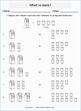 Volume and capacity mathematics worksheets for primary students in ESL setting, online math setting, remedial math setting