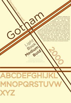 A tribute poster to my favorite piece of word architecture: the Gotham Font Gotham font poster ALTERNATE Creative Typography, Typography Poster, Typography Design, Lettering, Poster Fonts, Type Posters, Gotham Font, Cool Fonts, Serif