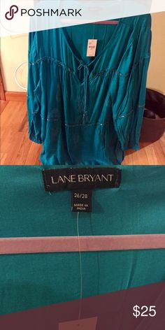 Lane Bryant gypsy shirt Nice beading details. Very bohemian look. Tassel at the neck. Blue green color Lane Bryant Tops