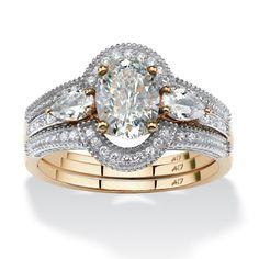 1.75 TCW Oval-Cut Cubic Zirconia 3-Piece Halo Bridal Set in 10k Gold, Women's, Size: 9, White
