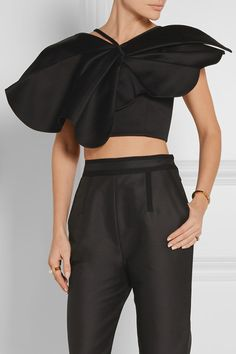 Black cotton-satin Zip fastening through back 100% cotton; lining: 100% cotton Dry clean
