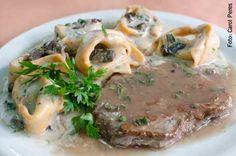 Abruzzi (jantar) Tortelli au funghi com escalope ao Marsala