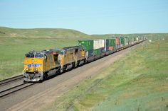 Eastbound Union Pacific stack train at Borie, Wyoming.