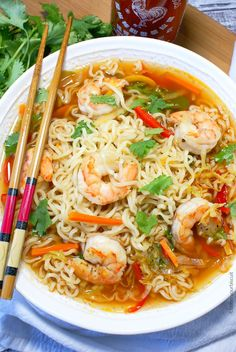 ramen noodle recipes This spicy shrimp ramen bowl recipe brings a cheap meal to the next level. Fresh veggies and tender shrimp really puts it over the top. Seafood Recipes, Soup Recipes, Cooking Recipes, Ramen Noodle Recipes, Top Ramen Recipes, Rice Noodle Soups, Recipes Dinner, Budget Cooking, Noodle Bowls