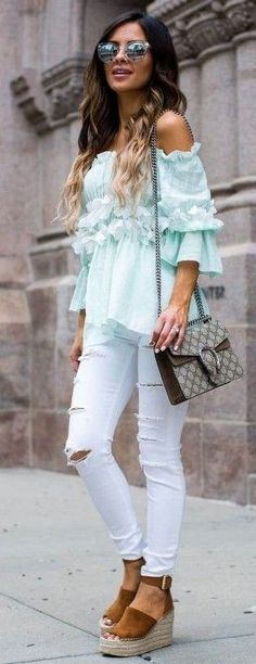 #summer #trendy #outfitideas Mint Off The Shoulder Top + White Denim + Camel Wedges