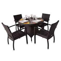 Diego Rattan 4 Seater Outdoor Dining Set with a 1m Plaswood Top - Round Outdoor Table - Rattan Patio Set