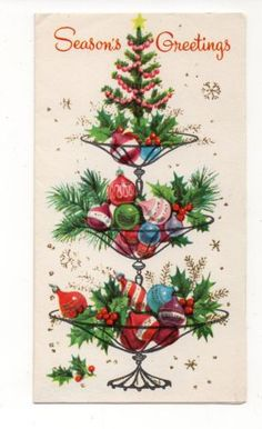Vintage-Christmas-Greeting-Card-Glitter-Ornament-Tree-Table-Decor