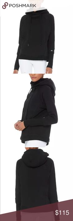 Alo Yoga Frost Black Sweatshirt Sherpa Lining Cozy Comfort. An update to an Alo best-seller, the Frost Long Sleeve has a boxy fit and high-neck hood detail. Ultra-soft Sherpa lines the hood and inside, while extra-long sleeve cuffs and thumbhole details up the comfort factor.  Designed to work from studio to street. Cozy boxy pullover Cozy boxy pullover with high neck hood detail. Extra long sleeve cuffs with thumbhole detail. Sherpa lining to keep you warm to and from practice. Triblend…