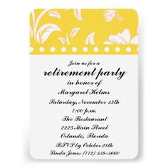 Yellow Floral Retirement Party Invite