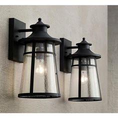 "Set of 2 Clement 15"" High Black Outdoor Wall Lights"