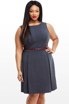Samantha Pleated Flare Dress With Belt