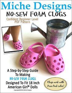 Miche Designs No-Sew Foam Clogs Doll Clothes Pattern 18 inch American Girl Dolls   Pixie Faire