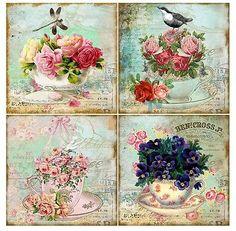 Vintage inspired tea cup note cards altered art set of 8 dragonfly violets rose