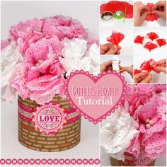 Tuesday Tutorial: DIY Paper Doily Flower by Amanda - Learn to make a carnation out of paper doilies.
