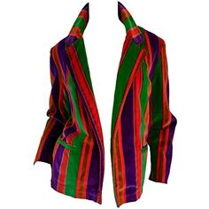 Preowned Wonderful Vintage I. Magnin 70s Rainbow Striped Velvet Blazer... ($425) ❤ liked on Polyvore featuring outerwear, jackets, multiple, pocket jacket, velvet jacket, vintage velvet jacket, vintage jacket and belted jacket