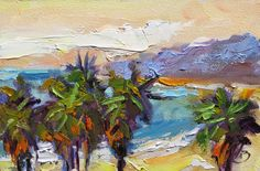 TOM BROWN FINE ART: LAGUNA BEACH PALMS, COASTAL PALETTE KNIFE ...
