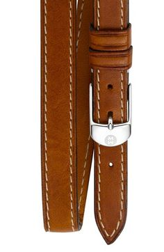 MICHELE 12mm Leather Double Wrap Watch Strap available at #Nordstrom