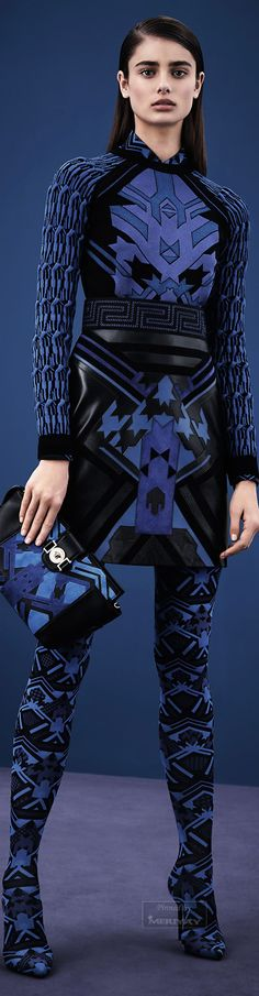 Versace.Pre-Fall 2015. Love it! The sharp points, sraight lines, how the pattern actually flatters her figure while making her a bit of a superhero. This would make even a timid dancer more powerful!