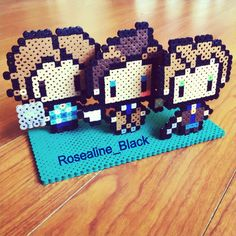 Sam, Castiel and Dean - Supernatural perler bead stand made and designed by Rosealine Black