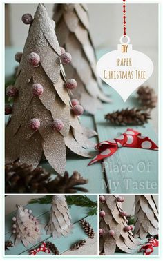 DIY Paper Christmas Tree. Turn piece of paper into this adorable decoration!