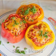 Quinoa stuffed peppers - next time I'll replace the corn with black beans and the parsley with cilantro; also I'll add a jalapeno.  I doubled the diced tomatoes and used organic adobo fire roasted.
